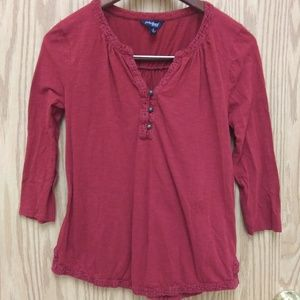Lucky Brand Small Maroon 3/4 Sleeve Top